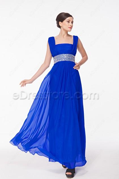 Square Neck Royal Blue Mother of the Bride Dresses