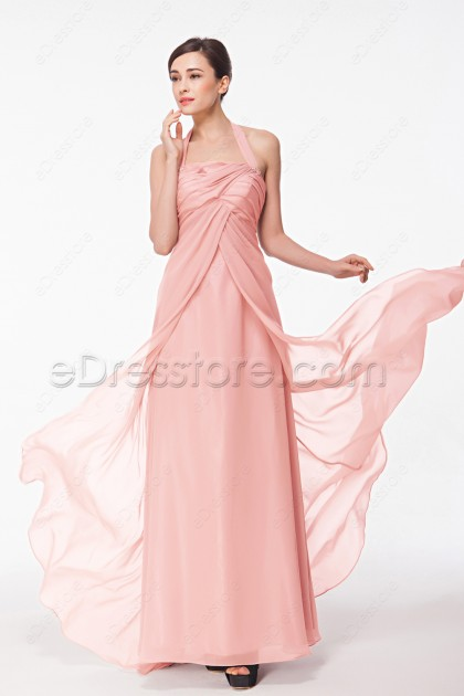Halter Pink Evening Dress with Empire Waist