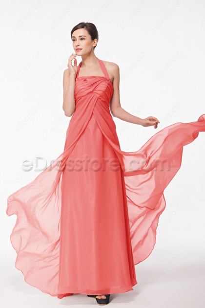 Halter Coral Pregnant Bridesmaid Dresses
