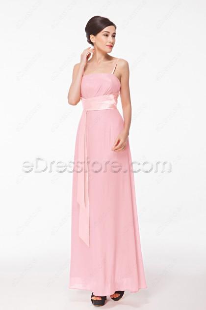Baby Pink Junior Bridesmaid Dresses Long