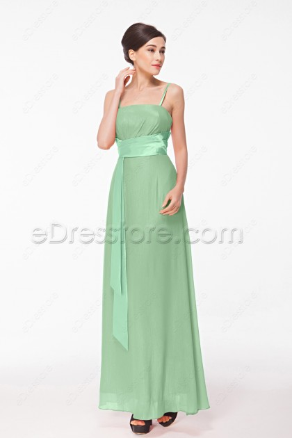 Spaghetti Straps Sage Green Bridesmaid Dresses Long