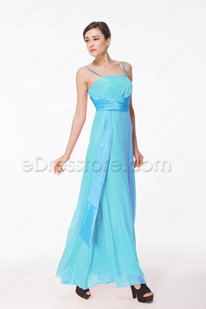 Spaghetti Straps Light Aqua Bridesmaid Dresses with Ribbon