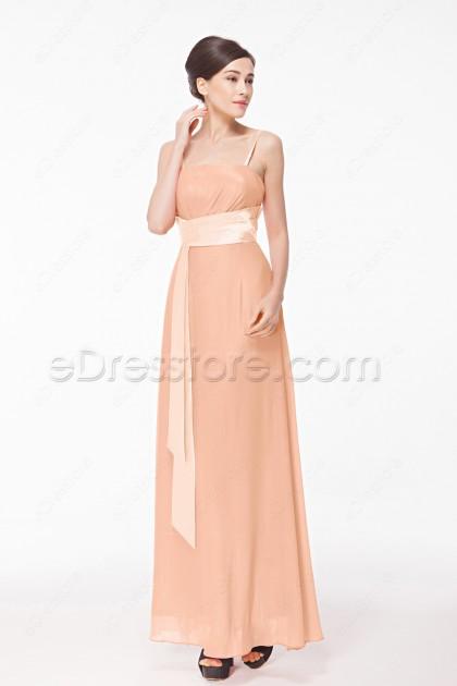 Simple Cheap Peach Bridesmaid Dresses