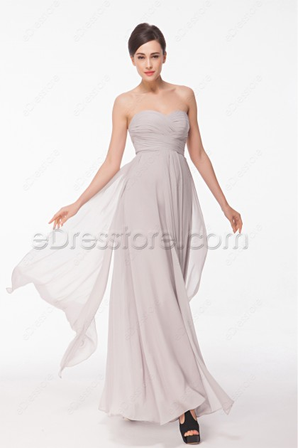 Sweetheart Flowing Grey Evening Dress