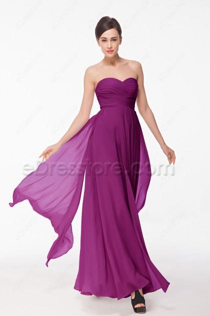 Sweetheart Magenta Long Autumn Bridesmaid Dresses