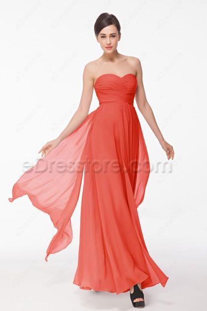 Coral Summer Bridesmaid Dresses Long