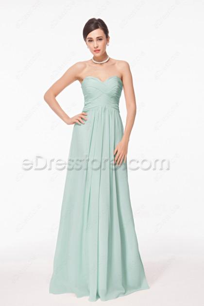 Mint green long prom dresses