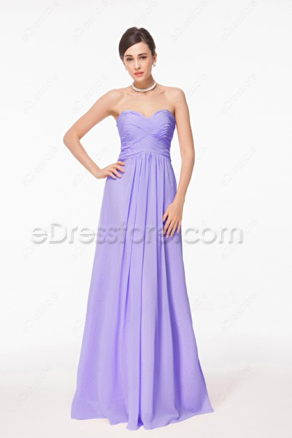 Elegant Strapless Lavender Long Bridesmaid Dresses