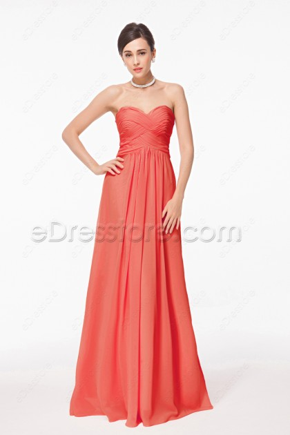 Sweetheart Coral Bridesmaid Dresses Long