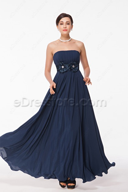 Strapless Navy Blue Long Prom Dresses