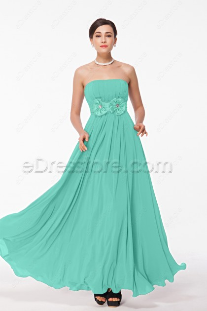 Mint Green Strapless Bridesmaid Dresses with Flowers