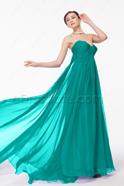 Sweetheart Green Long Evening Dress Empire Waist