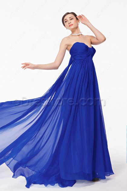 Sweetheart Royal Blue Flowing Prom Dresses Long with Train
