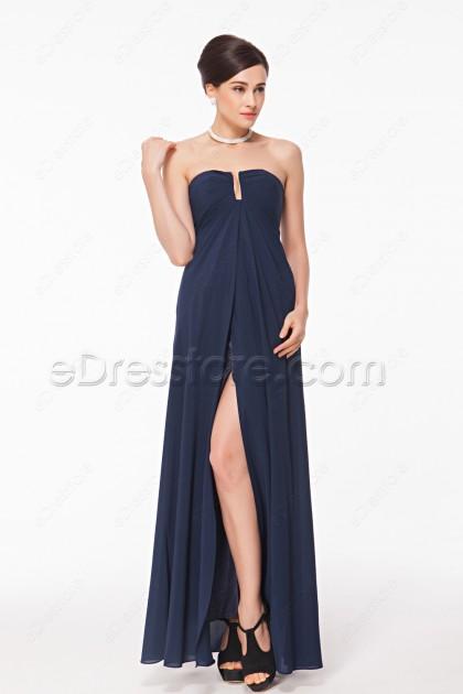 Notched Neck Navy Blue Slim Formal Dress with Slit