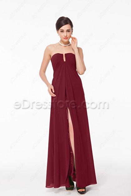 Simple Elegant Burgundy Prom Dresses with Slit