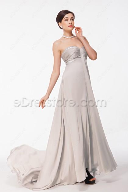 Beaded Sweetheart Grey Evening Dress Long with Train
