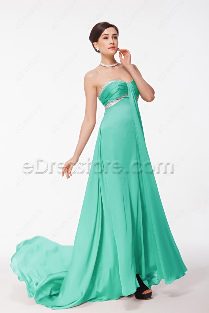 Sweetheart Mint Green Prom Dresses Long with Train