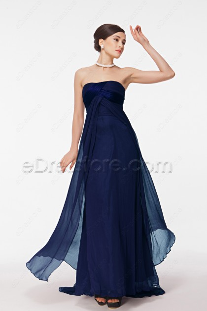 Strapless Navy Blue Prom Dresses Long with Train