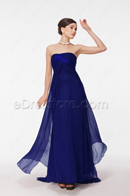 Royal Blue Long Evening Dress with Train
