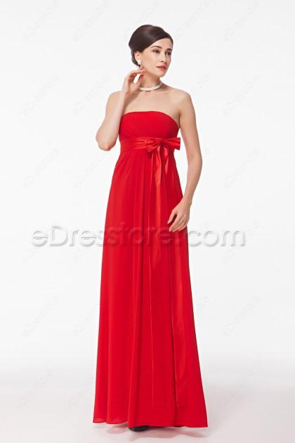 Strapless Red Long Prom Dresses Empire Waist