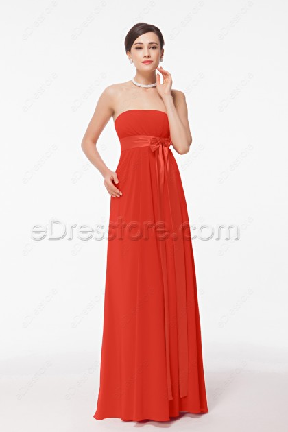Strapless Coral Pregnant Bridesmaid Dresses with Bow