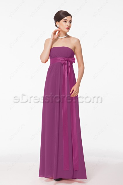 Plum Magenta Maternity Bridesmaid Dresses with bow