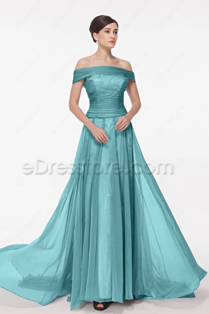 Off the Shoulder Green Long Prom Dresses with Train