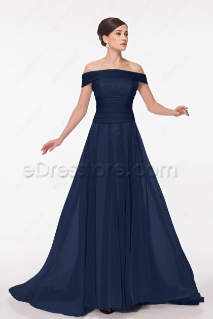 Off the Shoulder Navy Blue Mother of the Groom Dresses