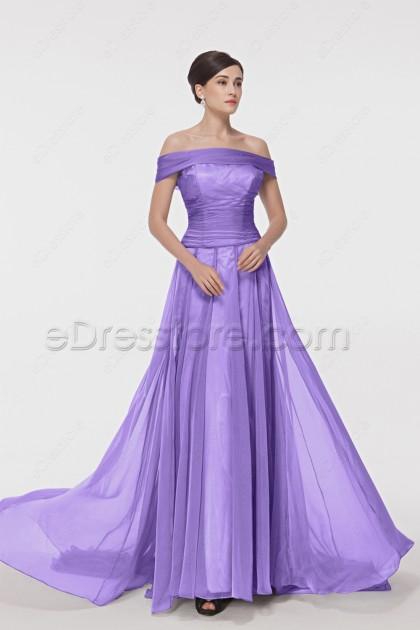 Off the Shoulder Purple Long Prom Dress