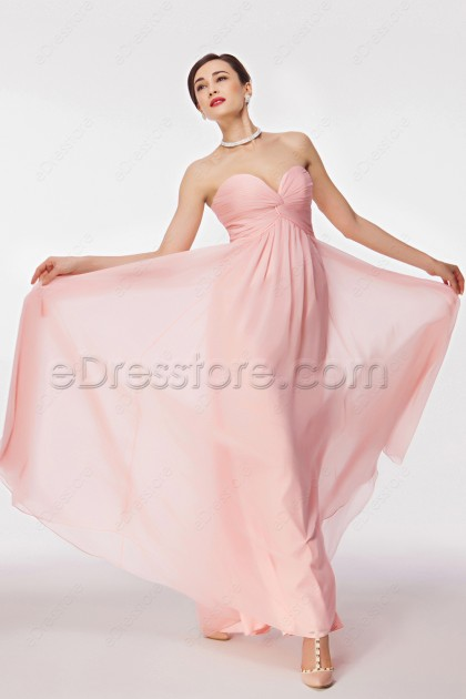 Sweetheart Pink Prom Dresses with Empire Waist