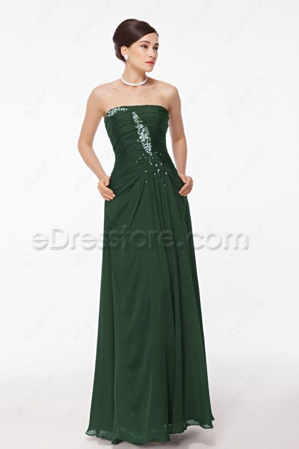 Strapless Crystal Beaded Forest Green Prom Dresses