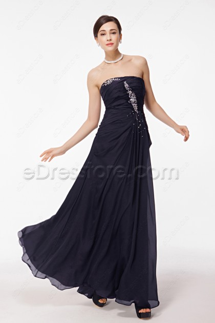 Midnight Blue Long Prom Dresses with Crystals