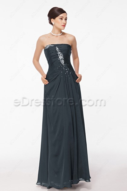 Crystals Charcoal Grey Maid of Honor Dresses Bridesmaid Dresses