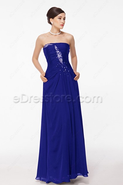 Royal Blue Evening Dress with Hand Sewn Crystals