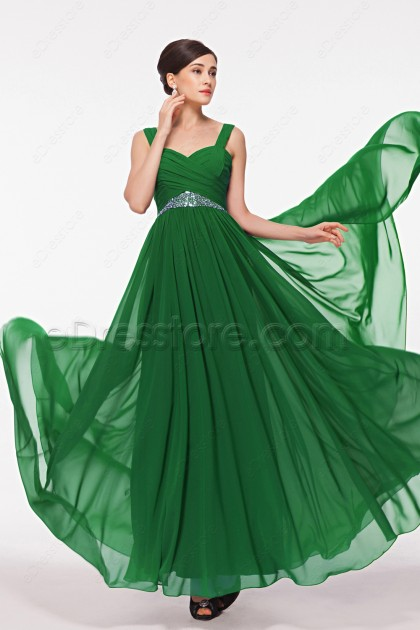 Sweetheart Beaded Emerald Green Prom Dresses with Wide Straps