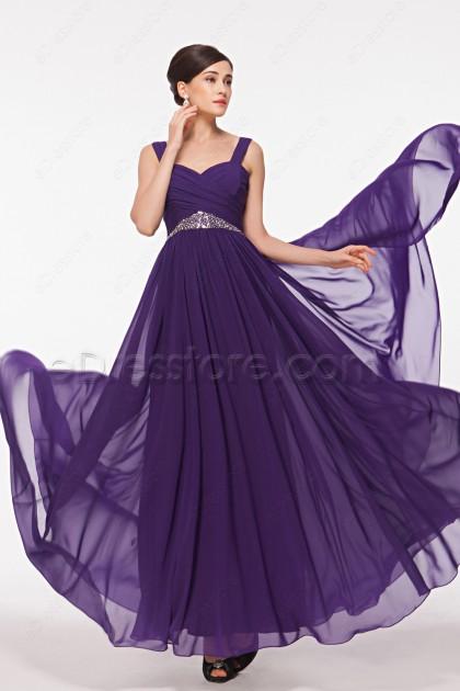 Straps Purple Flowing Formal Dresses Plus Size