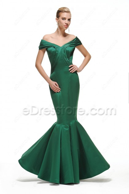 Emerald Green Off the Shoulder Mermaid Prom Dress Long