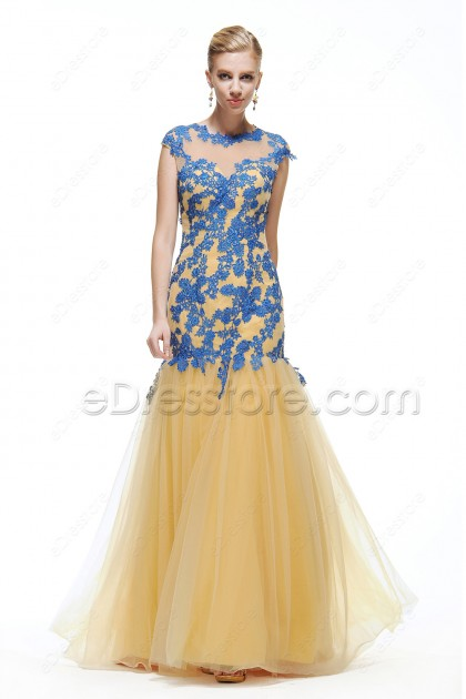Modest Mermaid Gold Prom Dresses long Cap Sleeves with Blue Lace