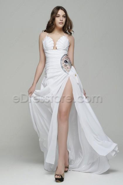 Halter Beaded Long White Prom Dresses with Slit