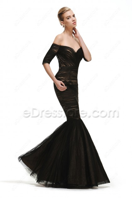 Off the Shoulder Mmermaid Black Vintage Prom Dress with Sleeves
