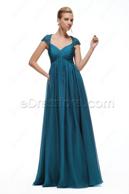 Cap Sleeves Teal Maternity Bridesmaid Dresses