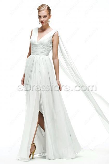 V Neck Chiffon Beach Wedding Dress with Slit and Watteau Train