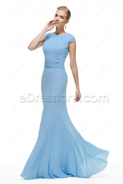 mermaid ice blue mermaid modest prom dress cap sleeves