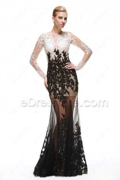 Black White Sparkly Prom Dresses Long Sleeves See Through