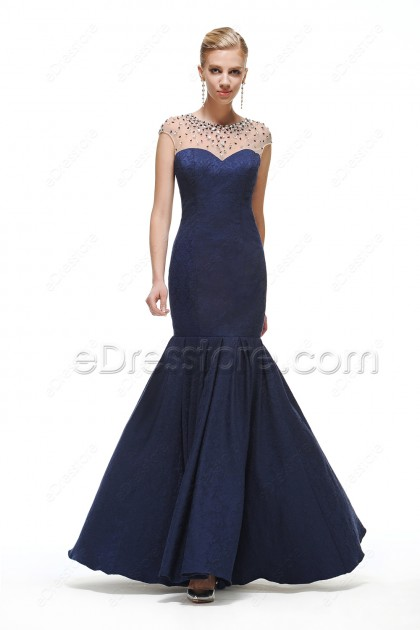 Crystals Modest Mermaid Navy Blue Prom Dresses long