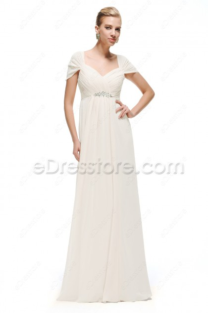 Sweetheart Pregnant Wedding Dresses Cap Sleeves with Crystals