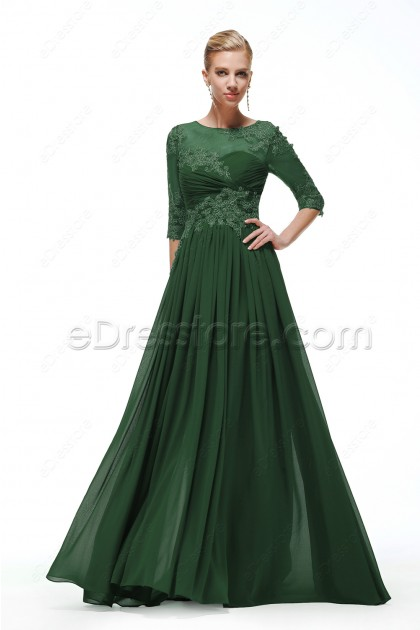 671fd482e67 Forest Green Modest Bridesmaid Dresses with Sleeves