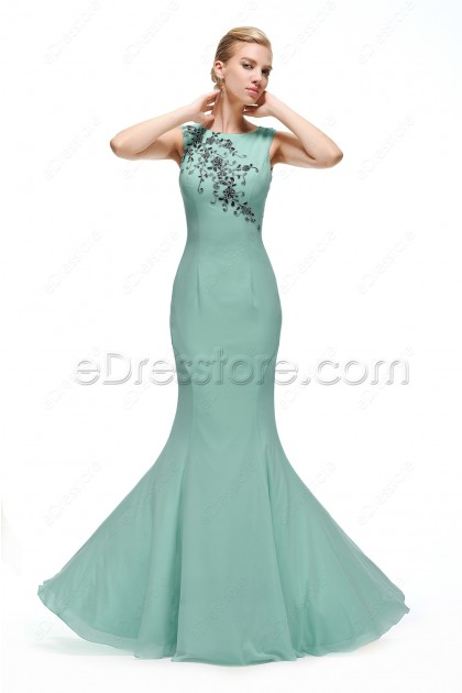 Mermaid Long Dusty Green Prom Dress with Black Lace