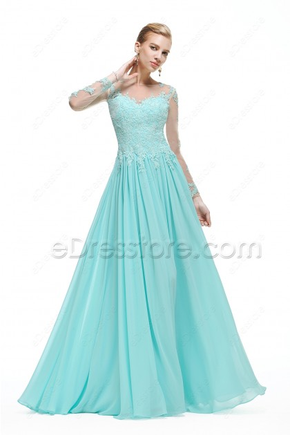 Light Blue Backless Lace Modest Prom Dress with Sleeves