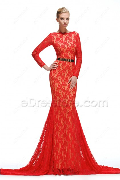 Mermaid Red Lace Prom Dress Long Sleeves